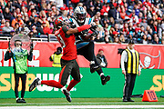 Touchdown, Carolina Panthers Wide Receiver Curtis Samuel (10) catches a pass in the endzone during the International Series match between Tampa Bay Buccaneers and Carolina Panthers at Tottenham Hotspur Stadium, London, United Kingdom on 13 October 2019.