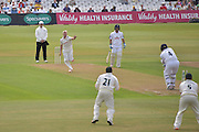 Luke Wood claims the wicket of Jimmy Adams bowled during the Specsavers County Champ Div 1 match between Nottinghamshire County Cricket Club and Hampshire County Cricket Club at Trent Bridge, West Bridgford, United Kingdom on 13 August 2016. Photo by Simon Trafford.