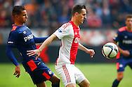 04-10-2015 VOETBAL: AJAX-PSV:AMSTERDAM<br /> Adam Maher van PSV (L) in duel met Arek Milik van Ajax <br /> <br /> <br /> Foto: Geert van Erven