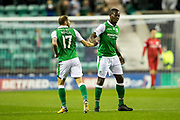 Hibernian forward Martin Boyle (#17) celebrates Hibernian's second goal (2-2) during the Betfred Scottish Cup match between Hibernian and Livingston at Easter Road, Edinburgh, Scotland on 19 September 2017. Photo by Craig Doyle.