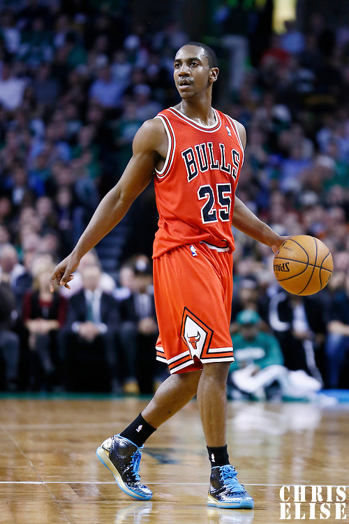 13 February 2013: Chicago Bulls point guard Marquis Teague (25) is seen during the Boston Celtics 71-69 victory over the Chicago Bulls at the TD Garden, Boston, Massachusetts, USA.