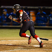 16 February 2018: San Diego State baseball opened up the season against UCSB at Tony Gwynn Stadium. San Diego State outfielder Chad Bible (23) hits an rbi single in the bottom of the fifth inning. The Aztecs beat the Gauchos 9-1. <br /> More game action at sdsuaztecphotos.com