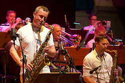 Edinburgh International Film Festival, Rehearsal, world famous Edinburgh born jazz saxophonist Tommy Smith leads the Scottish National Jazz Orchestra in a musical tribute to ground-breaking Scottish playwright Tom McGrath. This special performance is complemented by readings of McGrath's poetry and extracts from his plays by another iconic Scottish talent, celebrated actor and performer Tam Dean Burn at the Queens Hall.<br /> Friday 23rd June 2017(c) Brian Anderson | Edinburgh Elite media