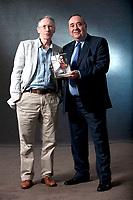 A portrait of Ian McEwan and Alex Salmond at the Edinburgh International Book Festival 2012 in Charlotte Square Gardens<br /> <br /> Pic by Pako Mera