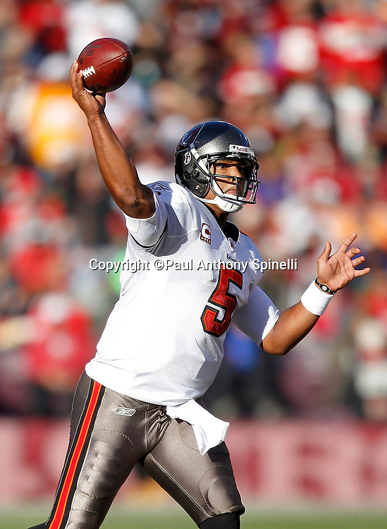 Tampa Bay Buccaneers quarterback Josh Freeman (5) throws a pass during the NFL week 11 football game against the San Francisco 49ers on Sunday, November 21, 2010 in San Francisco, California. The Bucs won the game 21-0. (©Paul Anthony Spinelli)