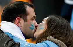 02.07.2010, Soccer City Stadium, Johannesburg, RSA, FIFA WM 2010, Viertelfinale, Uruguay (URU) vs Ghana (GHA) im Bild Fans of Uruguay küssen sich nach dem Sieg, EXPA Pictures © 2010, PhotoCredit: EXPA/ Sportida/ Vid Ponikvar, ATTENTION! Slovenia OUT
