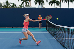 March 18, 2019 - Miami Gardens, FL, U.S. - MIAMI GARDENS, FL - MARCH 18: Harriet Dart (GBR) in action during the Miami Open on March 18, 2019 at Hard Rock Stadium in Miami Gardens, FL. (Photo by Aaron Gilbert/Icon Sportswire) (Credit Image: © Aaron Gilbert/Icon SMI via ZUMA Press)