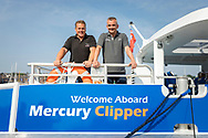 IMAGE PROVIDED FREE FOR EDITORIAL USE<br /> Ian Woodford, Fabrication Manager (left) and Rob Myram, Technical Manager from the Wight Shipyard Company pictured on board the newest addition to London&rsquo;s river bus transport network, Mercury Clipper, in East Cowes today as the vessel begins a 200 nautical mile maiden journey to the Capital from the Isle of Wight. Joining the MBNA Thames Clippers fleet, Mercury Clipper, is the first of two new boats that will enter service in London this summer. Six members of crew &ndash; with over 80 years of combined experience between them &ndash; will carry out the 12 hour journey, at an average speed of 20 knots. <br />  <br /> A &pound;6.3 million investment in London&rsquo;s port and transport infrastructure, Mercury Clipper and Jupiter Clipper have been built at the Wight Shipyard Co Ltd on the Isle of Wight. The boats took 10 months to build, creating over 75 new jobs across the Isle of Wight and London, including the hiring of two dedicated apprentices and engagement with over 100 local suppliers from across the South of England.<br />  <br /> For more information, please visit www.mbnathamesclippers.com<br /> Picture date: Wednesday June 21, 2017.<br /> Photograph by Christopher Ison &copy;<br /> 07544044177<br /> chris@christopherison.com<br /> www.christopherison.com