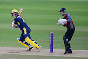 Jimmy Adams of Hampshire and Ryan Davies of Somerset during the Royal London One Day Cup match between Hampshire County Cricket Club and Somerset County Cricket Club at the Ageas Bowl, Southampton, United Kingdom on 2 August 2016. Photo by David Vokes.