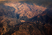 An aerial view shows the great contrast in color of the hills in the Hungry Valley area of Los Angeles County, California.