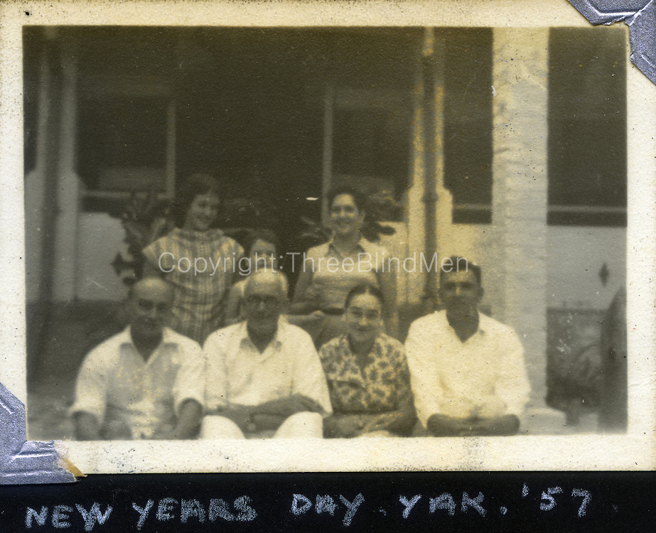 Sally Hulugalle Collection.<br /> Christmas Day at Yakadagalla. 1957<br /> Mary Daniel, Simon Sansoni and Barbara Sansoni - back row.<br /> Hildon Sansoni, Res Daniel, Sylvia Fernando and Clinton Fernando seated.