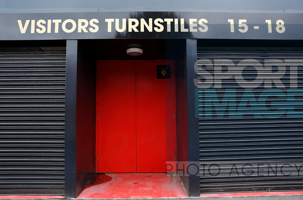 Away fans turnstiles closed before the Premier League match at Vicarage Road, Watford. Picture date: 20th June 2020. Picture credit should read: Darren Staples/Sportimage