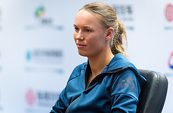 September 23, 2018 - Caroline Wozniacki of Denmark talks to the media during All Access Hour at the 2018 Dongfeng Motor Wuhan Open WTA Premier 5 tennis tournament (Credit Image: © AFP7 via ZUMA Wire)