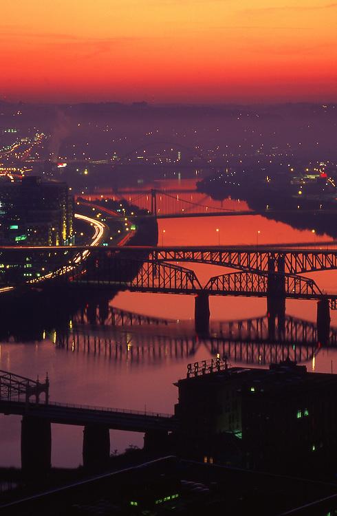 Pittsburgh, PA, Sunrise, Bridges, Monongahela River