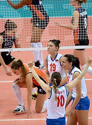 01-10-2014 ITA: World Championship Volleyball Servie - Nederland, Verona<br /> Nederland verliest met 3-0 van Servie en is kansloos voor plaatsing final 6 / Tijana Boskovic, Milena Rasic