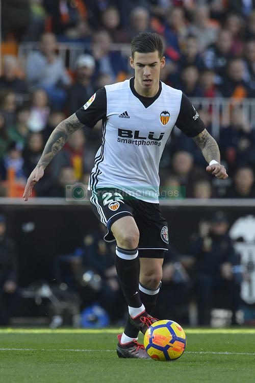 January 27, 2018 - Valencia, Spain - Santi Mina  during the match between Valencia CF against Real Madrd, week 21 of La Liga 2017/187 at Mestala stadium, Valencia, SPAIN - 27th January of 2018. (Credit Image: © Jose Breton/NurPhoto via ZUMA Press)