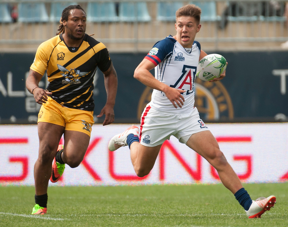 Arizona and American International University compete in pool play of the 2017 Penn Mutual Collegiate Rugby Championship at Talen Energy Stadium in Philadelphia. June 3, 2017. <br /> <br /> By Jack Megaw.<br /> <br /> www.jackmegaw.com<br /> <br /> jack@jackmegaw.com<br /> @jackmegawphoto<br /> [US] +1 610.764.3094<br /> [UK] +44 07481 764811