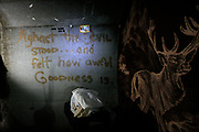 """On the wall next to his makeshift home inside the storm drains, Steve has quoted John Milton from Paradise Lost: """" Abashed the devil stood and felt how awful goodness is.""""      <br /> Sin City is the ultimate amusement park for adults. For some unlucky few, Vegas is anything but fun. They live in the storm drains right underneath The Strip."""