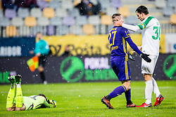 Jasmin Mesanovic of NK Maribor and Branko Ilic of NK Olimpija Ljubljana during football match between NK Maribor and NK Olimpija Ljubljana in 2nd leg match in Quaterfinal of Slovenian cup 2017/2018, on November 29, 2017 in Ljudski vrt, Maribor, Slovenia. Photo by Ziga Zupan / Sportida