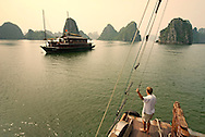 Vietnam, October 2008.  Ha Long Bay is a UNESCO World Heritage site located in Quang Ninh province, Vietnam. The bay features thousands of limestone karsts and isles in various sizes and shapes. Vietnam is an upcoming player in the travel industry. Photo by Frits Meyst/Adventure4ever.com