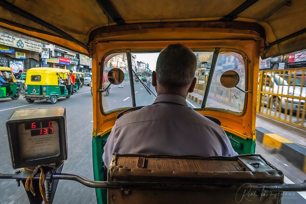 Inside a motor rikshaw in Delhi