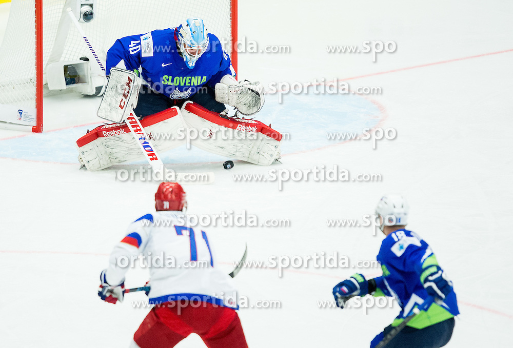 Ilya Kovalchuk of Russia scores vs Luka Gracnar of Slovenia during Ice Hockey match between Russia and Slovenia at Day 3 in Group B of 2015 IIHF World Championship, on May 3, 2015 in CEZ Arena, Ostrava, Czech Republic. Photo by Vid Ponikvar / Sportida