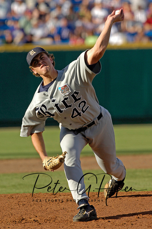 Cole St. Clair of Rice pitched five innings to get the win over Miami.  The Rice Owls defeated Miami 3-2 at the College World Series at Rosenblatt Stadium in Omaha, Nebraska, June 19, 2006.