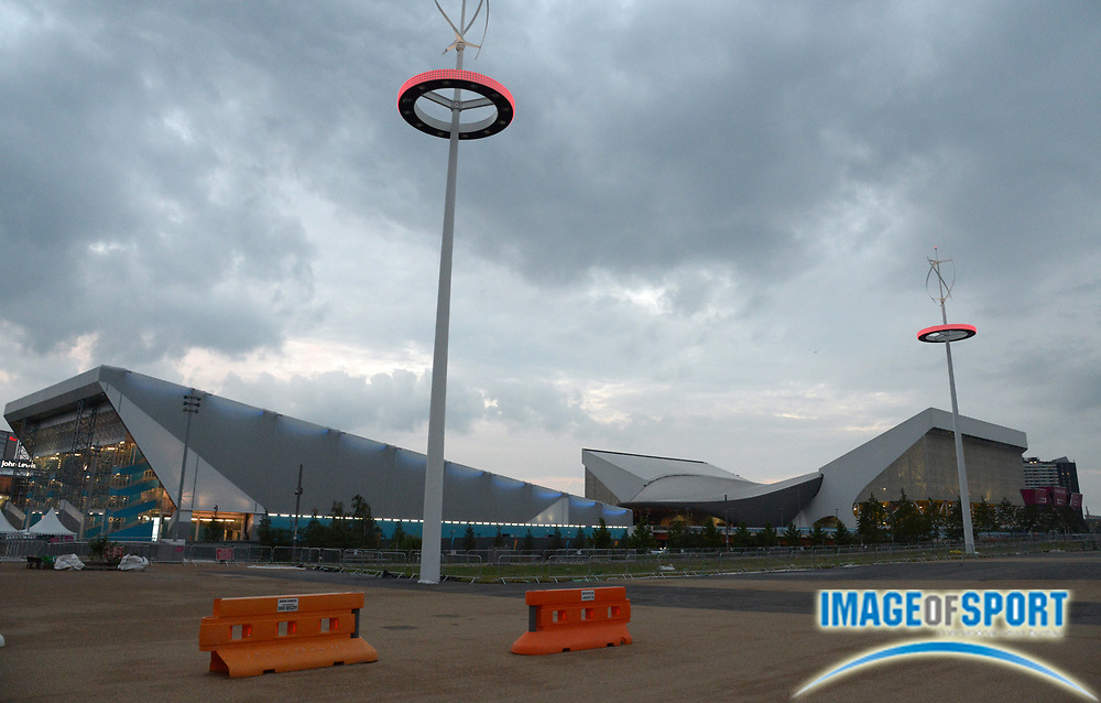 Jul 14, 2012; London, UNITED KINGDOM; General view of the Water Polo Arena (left) and Aquatics Centre at Olympic Park.
