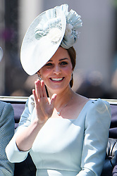 © Licensed to London News Pictures. 09/06/2018. London, UK. Catherine, Duchess of Cambridge, attends Trooping The Colour ceremony in London to mark the 92nd birthday of Queen Elizabeth II, Britain's longest reigning monarch. Photo credit: Ben Cawthra/LNP