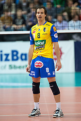 Rok Satler of SK Aich during CEV Champions League volleyball match between SK Aich/Dob and VfB Friedrichshafen, on January 21, 2015 at the BSH Sportpark in Klagenfurt, Austria. Photo by Morgan Kristan / Sportida