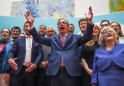 May 27, 2019 - London, London, United Kingdom - Brexit Party conference. ..NIgel Farage addreeses a press conference after winning the European Parliament elections...Brexit Party post-election press conference at Carlton House Terrace. (Credit Image: © Gustavo Valiente/i-Images via ZUMA Press)