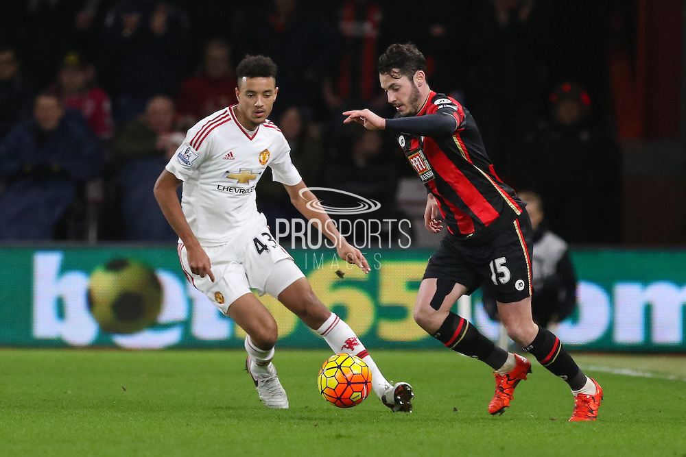 Adam Smith of Bournemouth during the Barclays Premier League match between Bournemouth and Manchester United at the Goldsands Stadium, Bournemouth, England on 12 December 2015. Photo by Phil Duncan.