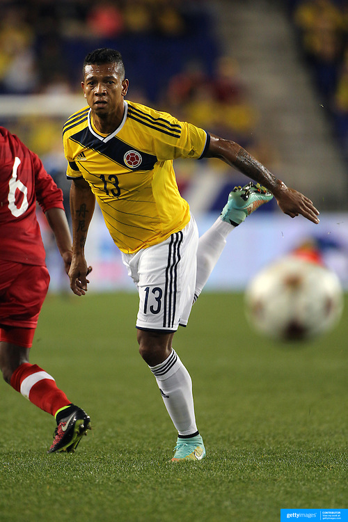 Freddy Guarín, Colombia, in action during the Columbia Vs Canada friendly international football match at Red Bull Arena, Harrison, New Jersey. USA. 14th October 2014. Photo Tim Clayton