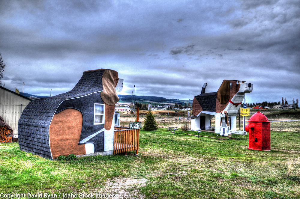 Dog Bark Park Inn, a Bed and Breakfast in Cottonwood, Idaho (The large beagles are guest rooms)