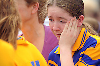 Katie Freeman upset at losing the Division 2 Camoige  Final at Pearse Stadium in the Féile na nGael 2011 against St Cillians. Photo:Andrew Downes.