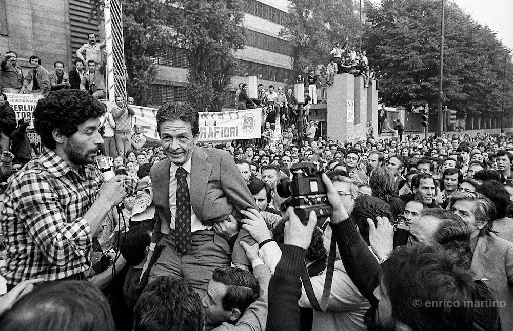 "Turin, 1980. Fiat workers on the last big strike against Fiat dismissal of thousand of workers. The strike is rembered as ""i 35 giorni"" (the 35 days). The Communist Party historical leader Enrico Berlinguer near Fiat  Mirafiori factory."