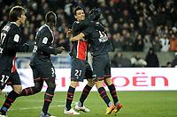 FOOTBALL - FRENCH CHAMPIONSHIP 2011/2012 - L1 - PARIS SAINT GERMAIN v TOULOUSE FC  - 14/01/2012 - PHOTO JEAN MARIE HERVIO / REGAMEDIA / DPPI - JOY JAVIER PASTORE WITH NENE (PSG)