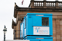 Edinburgh, Scotland, UK. 1 April, 2019. General views of Interserve construction site at the Royal Scottish Academy and Scottish National Gallery art museums on The Mound in Edinburgh. Interserve fell into administration last month and then was taken over by its lenders.