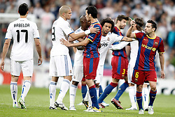 27.04.2011, Estadio Santiago Bernabeu, Madrid, ESP, UEFA CL, Halbfinale, Hinspiel, Real Madrid CF (ESP) vs FC Barcelona (ESP), im Bild Real Madrid's Alvaro Arbeloa, Pepe and Marcelo argue with Barcelona's Sergio Busquets and Xavi Hernandez during Champions League match in Madrid. April 27, 2011, EXPA Pictures © 2011, PhotoCredit: EXPA/ Alterphotos/ Alvaro Hernandez