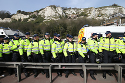 © Licensed to London News Pictures . 02/04/2016 . Dover , UK . Demonstrations by far-right groups (including The National Front , The North West Infidels and The South East Alliance ) and , opposing them , anti-fascists , close to the port of Dover in Kent . Photo credit : Joel Goodman/LNP
