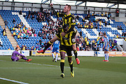 Burton No 10 Lucas Akins celebrates scoring the second goal in the Sky Bet League 1 match between Colchester United and Burton Albion at the Weston Homes Community Stadium, Colchester, England on 23 April 2016. Photo by Nigel Cole.