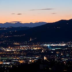 Italian Prealpi at night seen from San Vigilio hill, Bergamo