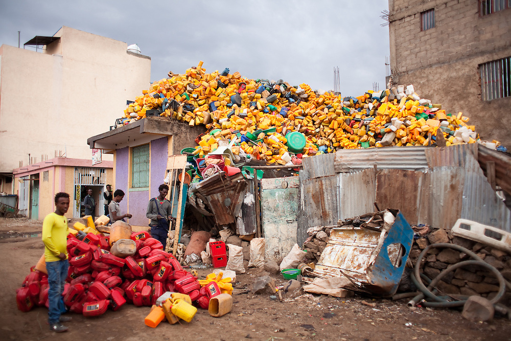 Recycling of plastic containers on rooftop in Shire Inda Selassie in Tigray Region, Northern Ethiopia, 2015.<br />