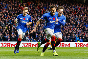 James Tavernier of Rangers celebrates with Glenn Middleton & Joe Worrall of Rangers during the Ladbrokes Scottish Premiership match between Rangers and Motherwell at Ibrox, Glasgow, Scotland on Sunday 11th November 2018.