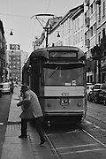 Old Man Avoiding the Streetcar, Milan, Italy