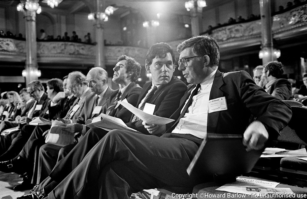 GORDON BROWN at the 1988 Labour party conference in Blackpool, where he was Shadow Chief Secretary to the Treasury.<br />   Photograph &copy; Howard Barlow