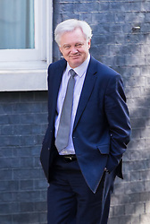 Downing Street, London, April 19th 2017. Secretary of State for Exiting the European Union David Davis walks up Downing Street to No 10, official residence of British Prime Minister Theresa May on the day after she triggered the June 8th general election