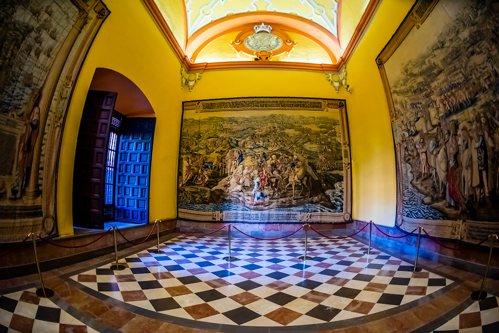 Tapestries Hall, The Alcázar of Seville (Real Alcazar) is a royal palace in Seville, Spain, built for the Christian king Peter of Castile.