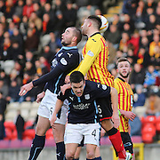 Partick Thistle's Conrad Balatoni outjumps Dundee's James McPake and Thomas Konrad - Partick Thistle v Dundee - SPFL Premiership at Dens Park<br /> <br />  - &copy; David Young - www.davidyoungphoto.co.uk - email: davidyoungphoto@gmail.com