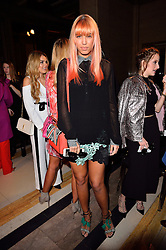 © Licensed to London News Pictures. 19/02/2016. AMBER LE BON attends the FELDER FELDER Autumn/Winter 2016 show. Models, buyers, celebrities and the stylish descend upon London Fashion Week for the Autumn/Winters 2016 clothes collection shows. London, UK. Photo credit: Ray Tang/LNP